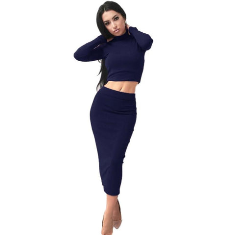 1PC Blouse+1PC Dress Sexy Solid Women Long Sleeve Bodycon Party Cocktail Club Dresses Workwear
