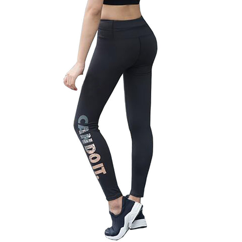 Womens Sports Leggings Fitness Yoga Pants High Waist Elastic Capri Pants