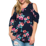 Plus Size Womens Floral Printed Half Sleeve Shirt Tops