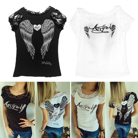 Women's T shirt Back Hollow Angel Wings T-shirt