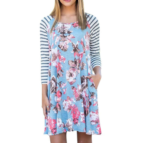 Fashion Floral Printed Autumn Dress Women Casual Stripe Long Sleeve Dress