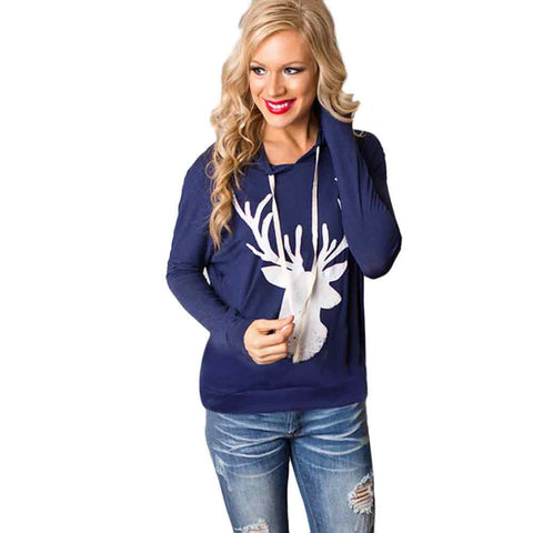 Women Christmas Elk Reindeer Printed Fashion Tops