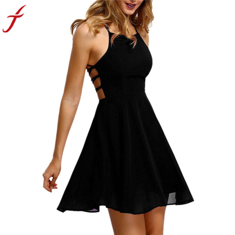 Sexy Womens Backless Chiffon Bandage Party Dress Sleeveless Cocktail Black Mini Dress