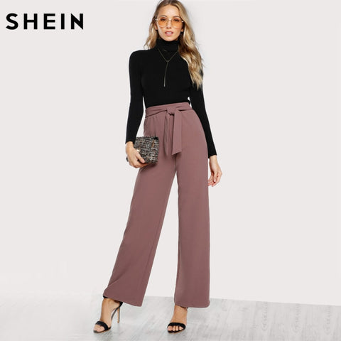 SHEIN Self Tie Waist Palazzo Pants Pink Elegant High Waist Pants
