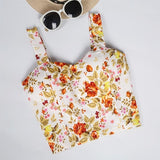 Crop Top Short Cami Tank Top Female Cute Floral Tube Womens Tops