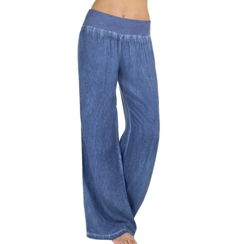 Womens Casual High Waist Elasticity Denim Wide Leg Palazzo Pants Jeans Trousers