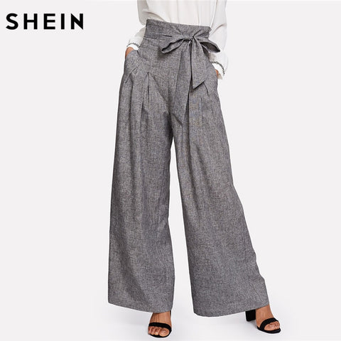 Women Grey High Waist Self Belted Box Pleated Palazzo Pants