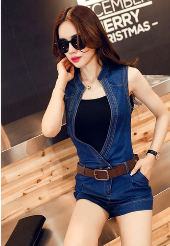 Women 2018 New Summer Denim Jumpsuit Ladies Sleeveless Short Jeans