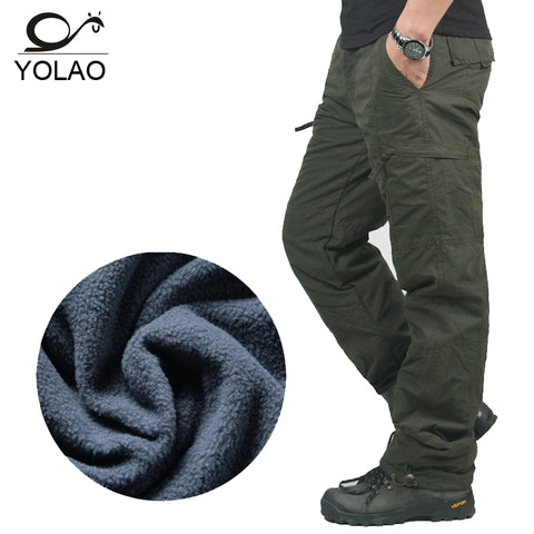 YOLAO Men's Cargo Pants Warm Baggy Pants Cotton Trousers For Men Military Camouflage Tactical B02
