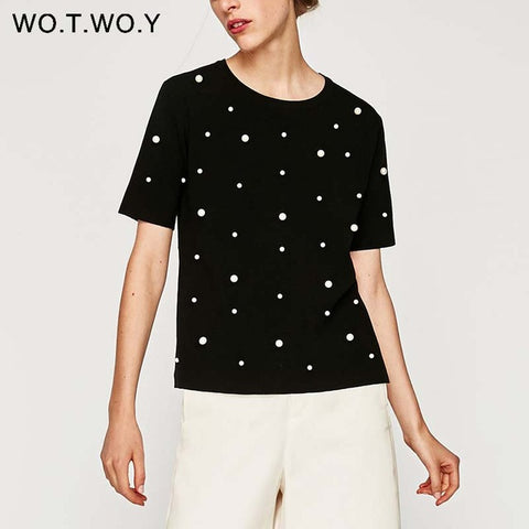 WOTWOY Summer Pearls Beaded T-Shirt Women Cotton Loose Casual Black Tops