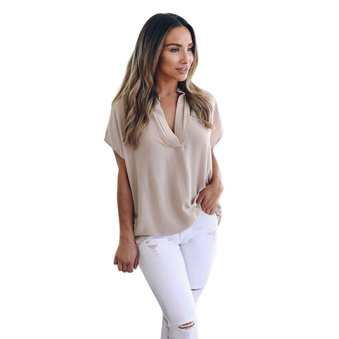 Womens Summer Chiffon Short Sleeve Casual Shirt Tops