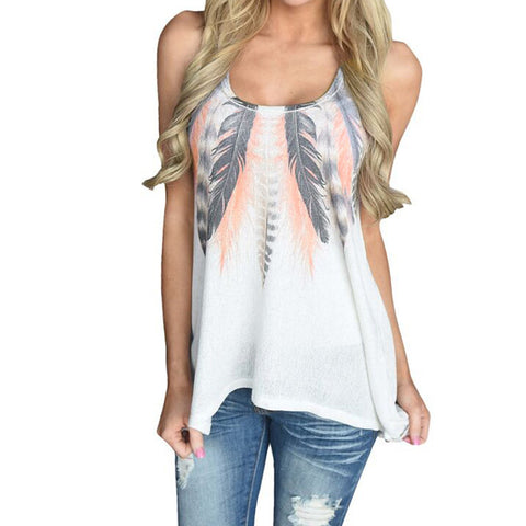 Womens Feather Print Sleeveless Shirt Blouse Casual O-neck Tank Tops T-Shirt