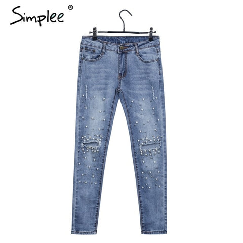 Simple pearl hole jeans female Casual pocket skinny pencil jean