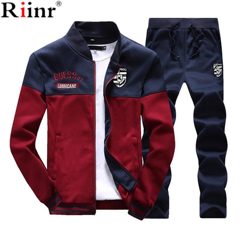 Riinr Brand New Men Sets Fashion Sporting Suit Sweatshirt +Sweatpants Mens Clothing 2 Pieces Sets Slim Tracksuit