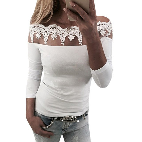 Off Shoulder Cotton Female T Shirt Women Long Sleeves Lace Tops Bodycon T-Shirt