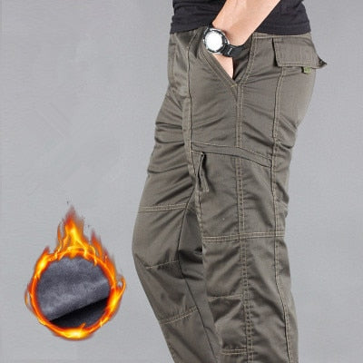 Men's Cargo Pants Winter Thicken Fleece Cargo Pants Mens Casual Cotton Plus size 3XL