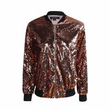 Womens Sequin Coat Green Bomber Jacket Long Sleeve Zipper