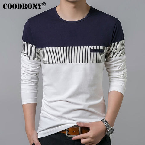 COODRONY Men New Long Sleeve O-Neck T Shirt , Brand Clothing Fashion Patchwork Cotton Tee