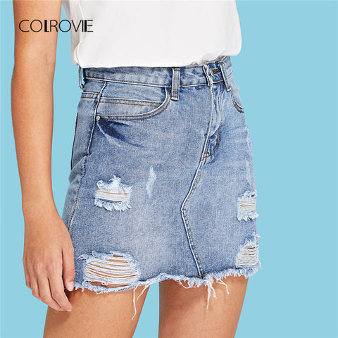 COLROVIE Blue Ripped Casual Mini Denim Skirt