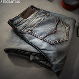 AIRGRACIAS Brand Jeans Retro Nostalgia Straight Denim Jeans Men Plus Size