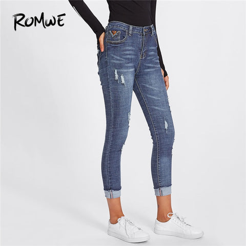 ROMWE Roll Up Hem Ripped Blue Denim Jeans Women Casual Capris Skinny Trousers