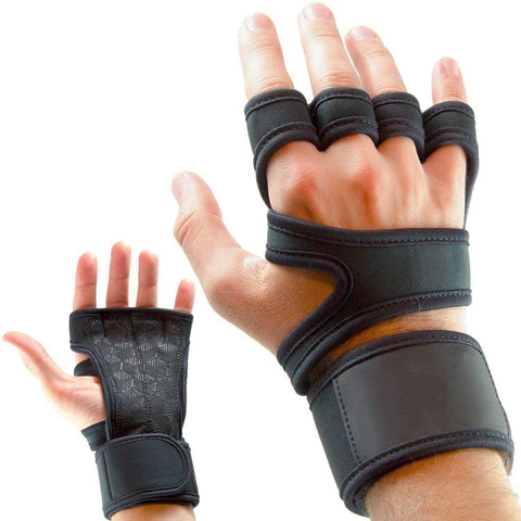 Unisex Cross Training Gloves with Wrist Support for Weightlifting, Gym Workout & Powerlifting - Silicone Padding, no Calluses