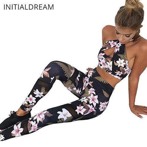 INITIALDREAM Women's Two Piece Floral Tracksuit