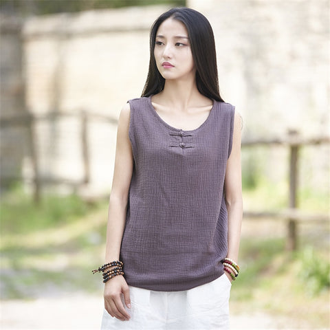 Johnature Women Cotton Linen T-Shirts Sleeveless O-Neck  T-Shirts