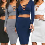 Womens Ladies Long Sleeve V Neck Skirt Sexy Blouse Top Skirt 2PC