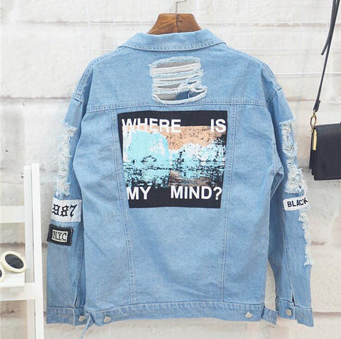 Kpophome printed Jacket jeans  fall and winter long sleeve