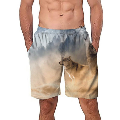 Mens Casual 3D Wolf Printed Beach Work Casual Men Short Trouser Shorts Pants