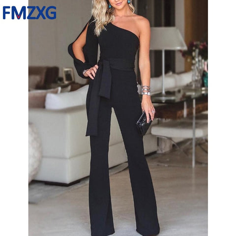 Women One Shoulder Long Sleeve Straight Jumpsuit , Elegant Soft Workwear Jumpsuits