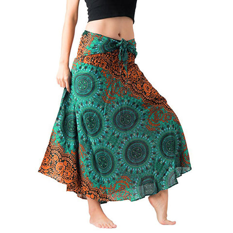 Womens Long Hippie Bohemian Gypsy Boho Flowers Elastic Floral Hlater Skirt