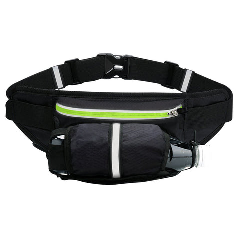 Unisex Waist Pack  Fanny Pack ,Running Belt Water Bottle Carrier Bag (Black)