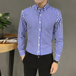 Mens Suit Fit Long Sleeve Button Shirt