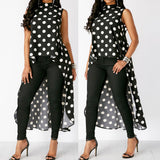 Womens Fashion Casual Sleeveless Polka Dot Black High Low Chiffon Blouse Tops