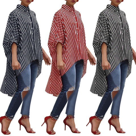 Womens Cotton Striped Three Quarter Sleeve Shirt Casual Tops