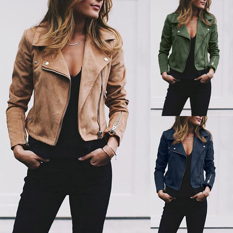 Womens Retro Rivet Zipper Up Bomber Jacket Casual Coat Outwear