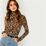 SHEIN Brown Highstreet Office Lady High Neck Leopard Print Fitted Pullovers