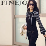 FINEJO New Neck Sleeve  Puff Long Cotton Casual Tshirts Stripes Tops Pullover Sexy Party