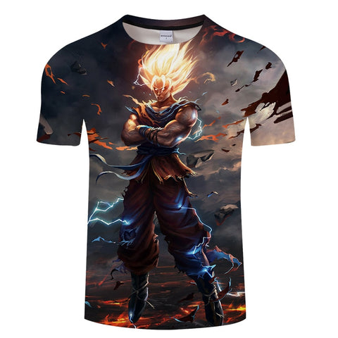 camiseta dragon ball Tshirt 3D Men T-shits Anime T-shirt harajuku Comics Tops Goku Bal Z print Tee Fashion stranger things M-5XL