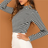 SHEIN Modern Lady Black and White Slim Fit Mock Neck High Neck Striped Rib Knit T-shirt