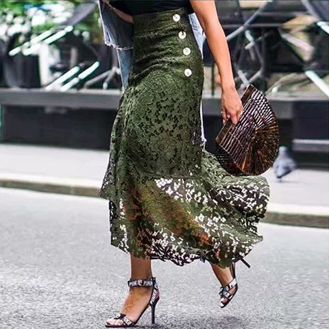 Conmoto Dark Green Lace Skirt