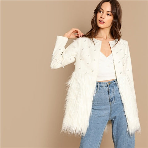 SHEIN White  Solid Pearl Embellished Faux Fur Round Neck Jacket