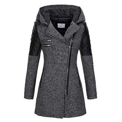 Sisjuly Winter Hooded  Zipper Slim Outerwear  Windproof Overcoat Fall