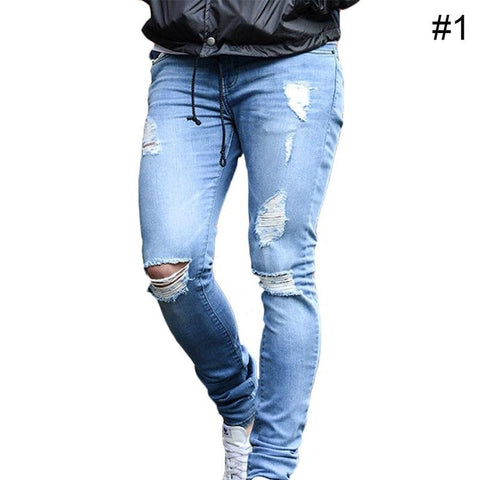 Men Stretchy Ripped Skinny Biker Jeans Destroyed Taped Slim Fit Denim Pants