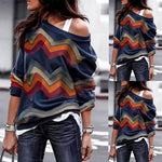 Women O Neck Long Sleeve Striped Blouse Sweatshirt Pullover Casual Tops Shirt