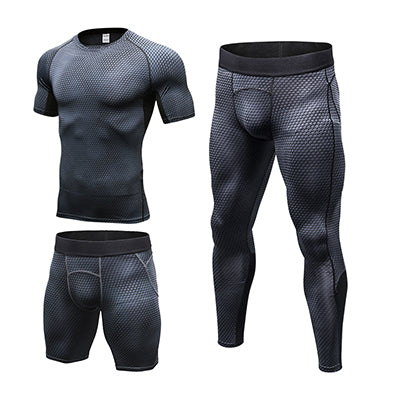 Yuerlian Compression Men's Running Set Clothes Gym Workout Sport Suit