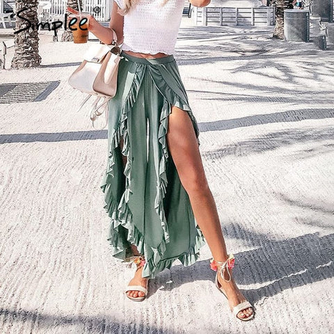 High waist baggy split summer pants female Ladies wide leg trousers