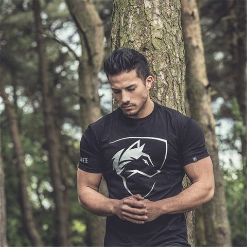 Mens Gyms Elastic Breathable T shirt , Bodybuilding Fashion Male Short Cotton Clothing Tee Tops